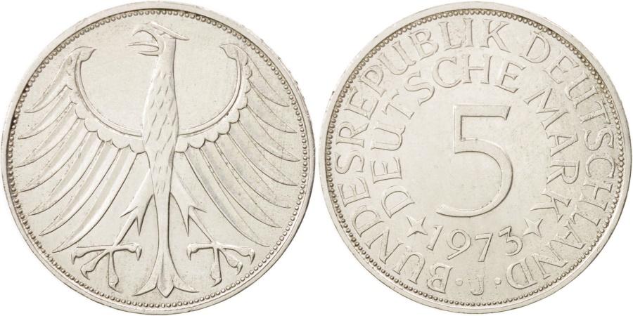 World Coins - GERMANY - FEDERAL REPUBLIC, 5 Mark, 1973, Hamburg, , Silver, KM:112.1