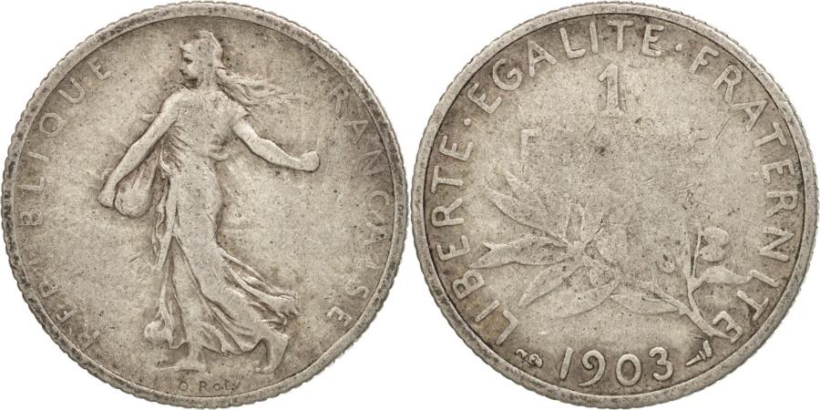 World Coins - France, Semeuse, Franc, 1903, Paris, , Silver, KM:844.1, Gadoury:467
