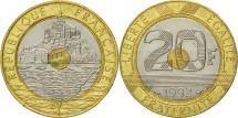 World Coins - France, Mont Saint Michel, 20 Francs, 1992, Paris, AU(55-58), Tri-Metallic