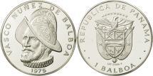 World Coins - Panama, Balboa, Vasco Nunez, 1975, U.S. Mint, MS(64), Silver, KM:39.1a