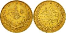 World Coins - Turkey, Muhammad V, 100 Kurush, 1913, Qustantiniyah, AU(50-53), Gold, KM:754