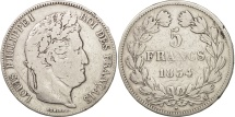 France, Louis-Philippe, 5 Francs, 1834, Toulouse, VF(20-25), Silver, KM:749.9