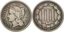Us Coins - United States, Nickel 3 Cents, 1868, U.S. Mint, Philadelphia, VF(20-25)