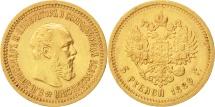 Russia, Alexander III, 5 Roubles, 1889, St. Petersburg, EF(40-45), Gold, KM:42