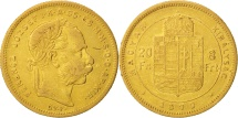 Hungary, Franz Joseph I, 8 Forint 20 Francs, 1870, Karlsburg, AU(50-53), Gold