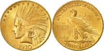 Us Coins - United States, Indian Head, $10, 1910, Philadelphia, AU(55-58), Gold, KM:130