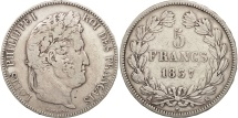 France, Louis-Philippe, 5 Francs, 1837, Bordeaux, VF(30-35), Silver, KM:749.7
