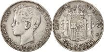 World Coins - Spain, Alfonso XIII, Peseta, 1900, Valencia, VF(30-35), Silver, KM:706