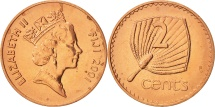 World Coins - Fiji, Elizabeth II, 2 Cents, 2001, MS(63), Copper Plated Zinc, KM:50a