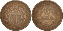 Us Coins - United States, 2 Cents, 1865, U.S. Mint, Philadelphia, EF(40-45)