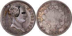 World Coins - Coin, France, Napoléon I, Franc, 1808, Strasbourg, Tiger countermark, Very
