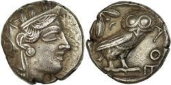 Ancient Coins - Coin, Attica, Athena, Tetradrachm, 490-407 AV JC, Athens, AU(50-53), Silver