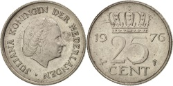 World Coins - Netherlands, Juliana, 25 Cents, 1976, , Nickel, KM:183