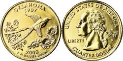 Us Coins - Coin, United States, Oklahoma, Quarter, 2008, U.S. Mint, Denver, golden