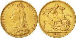 World Coins - Coin, Australia, Victoria, Sovereign, 1891, Melbourne, EF(40-45), Gold, KM:10