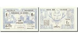World Coins - Banknote, New Caledonia, 1 Franc, 1943, 1943-03-29, KM:55a, UNC(60-62)