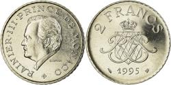 World Coins - Coin, Monaco, Rainier III, 2 Francs, 1995, , Nickel, KM:166, Gadoury:MC