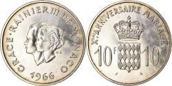 World Coins - Coin, Monaco, Grace et Rainier III, 10 Francs, 1966, , Silver, KM:M1