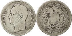 World Coins - Coin, Venezuela, Gram 25, 5 Bolivares, 1889, VF(20-25), Silver, KM:24.1