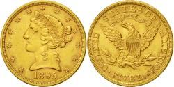 Us Coins - Coin, United States, Coronet Head, $5, 1895, Philadelphie, AU(5053), Gold,KM 101