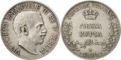 World Coins - ITALIAN SOMALILAND, 1/2 Rupia, 1910, Rome, KM #5, , Silver, 5.77