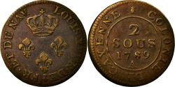 World Coins - Coin, Guyana, 2 Sous, 1789, Paris, , Bronze, KM:1