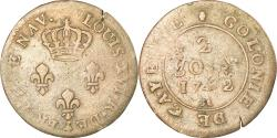 World Coins - Coin, FRENCH GUIANA, 2 Sous, 1782, Paris, overstruck on double sol Louis XV