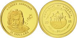 World Coins - Liberia, 25 Dollars, Einstein, 2001, MS(65-70), Gold