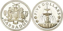 World Coins - Coin, Barbados, 5 Dollars, 1975, Franklin Mint, , Silver, KM:16a