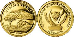 World Coins - Coin, CONGO, DEMOCRATIC REPUBLIC, Kilimanjaro, 10 Francs, 2008, , Gold