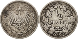 World Coins - GERMANY - EMPIRE, 1/2 Mark, 1906, Stuttgart, , Silver, KM:17