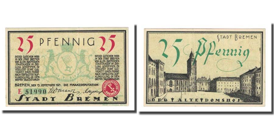World Coins - Banknote, Germany, Bremen, 25 Pfennig, Monument, 1921, 1921-09-15, AU(55-58)