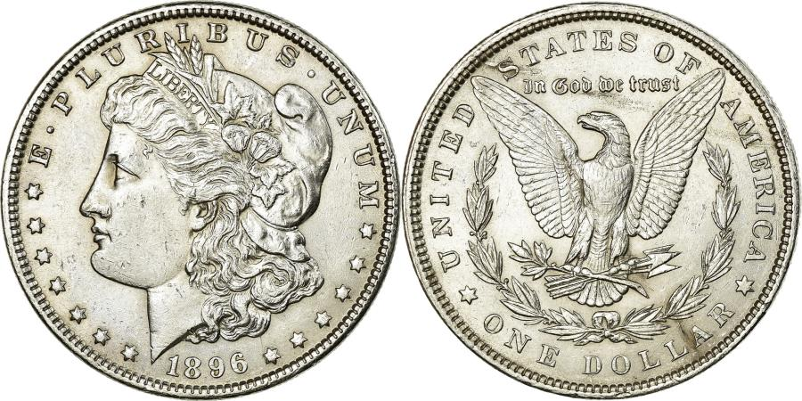 US Coins - Coin, United States, Morgan Dollar, Dollar, 1896, U.S. Mint, Philadelphia