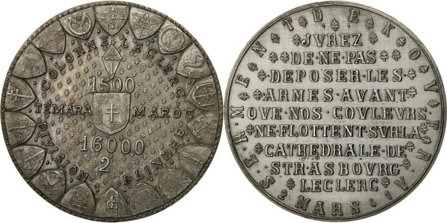 World Coins - France, Medal, Serment de Koufra, Colonne Leclerc, Temara, Maroc, 1975, De