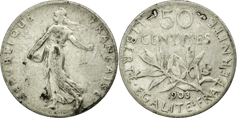 World Coins - Coin, France, Semeuse, 50 Centimes, 1903, EF(40-45), Silver, Gadoury:420