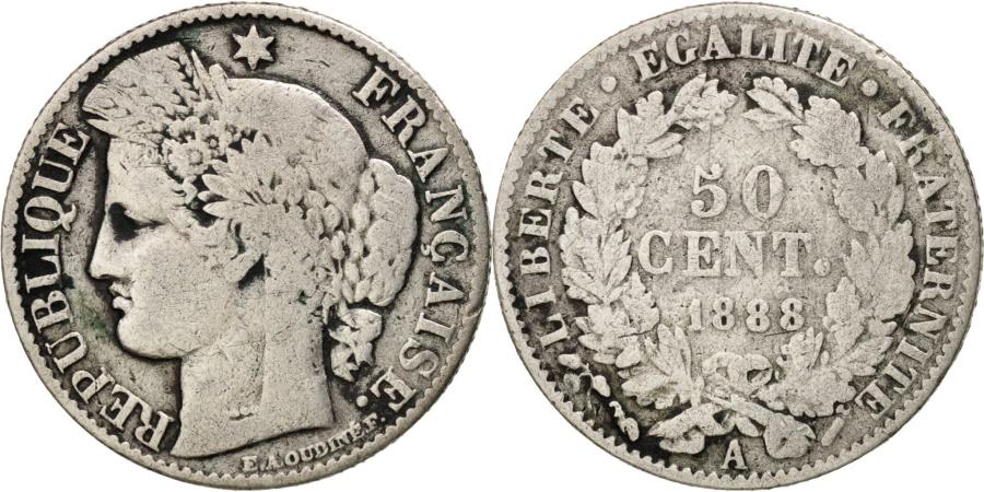 World Coins - France, Cérès, 50 Centimes, 1888, Paris, , Silver, KM:834.1