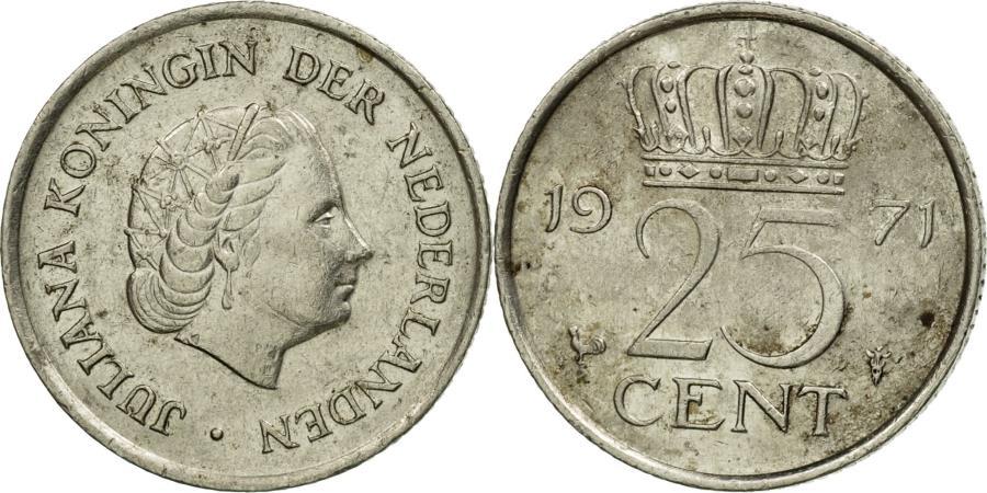 Coin, Netherlands, Juliana, 25 Cents, 1971, , Nickel, KM:183