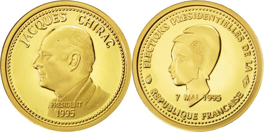 World Coins - France, Medal, Jacques Chirac, Elections Présidentielles, 1995, MS(65-70), Gold