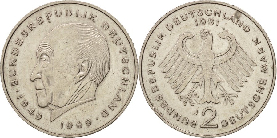 World Coins - GERMANY - FEDERAL REPUBLIC, 2 Mark, 1981, Hambourg, , KM:124