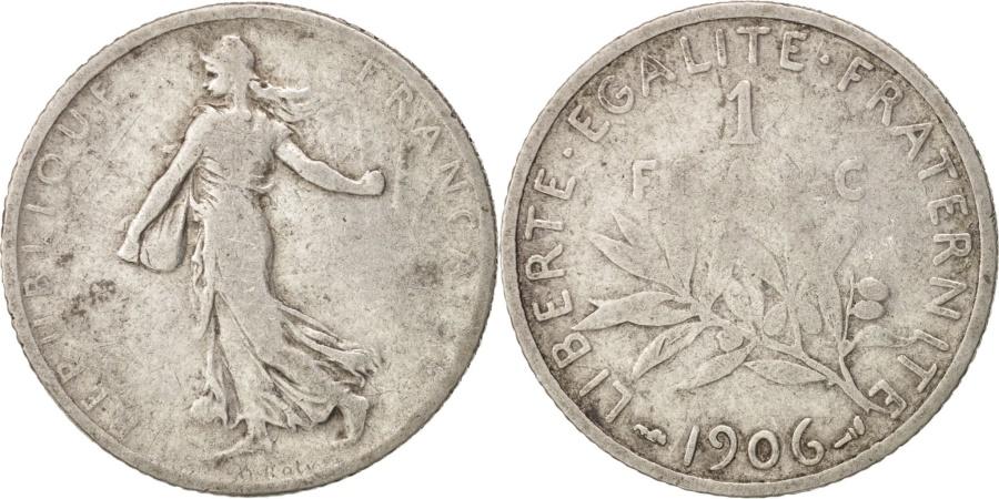 World Coins - France, Semeuse, Franc, 1906, Paris, , Silver, KM:844.1