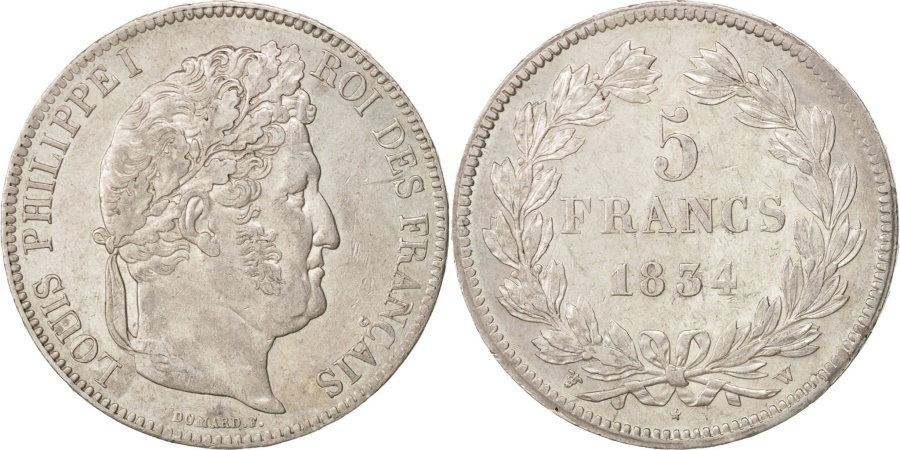 World Coins - France, Louis-Philippe, 5 Francs, 1834, Lille, , Silver, KM:749.13