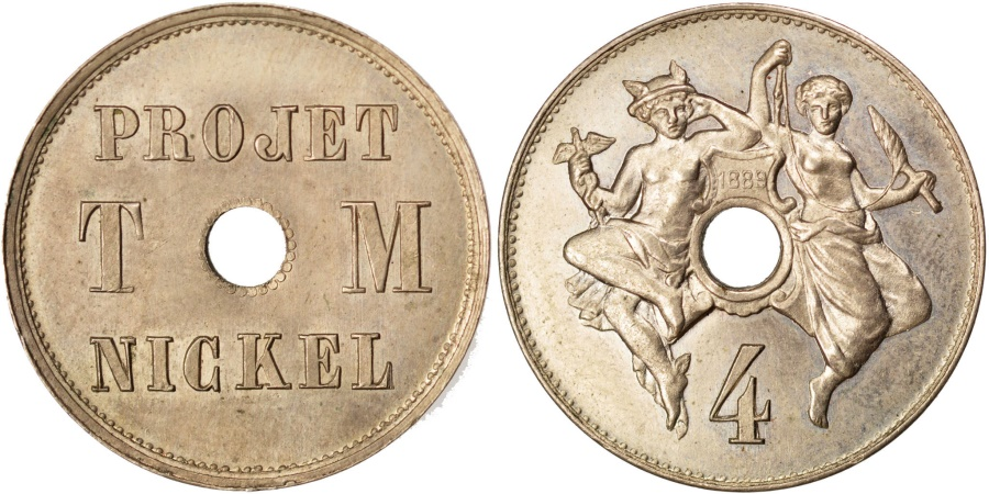 World Coins - FRANCE, 4 Centimes, 1889, , Nickel, Gadoury #259.3, 3.35