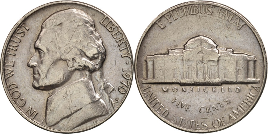 US Coins - United States, Jefferson Nickel, 5 Cents, 1970, U.S. Mint, San Francisco