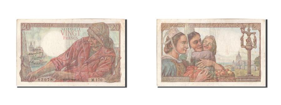World Coins - France, 20 Francs, 20 F 1942-1950 ''Pêcheur'', 1948, KM:100c, 1948-01-29, EF...