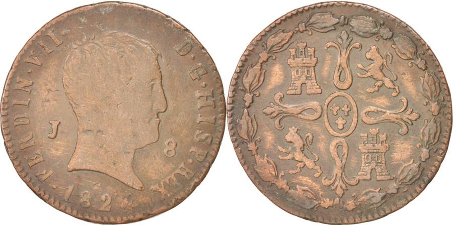 World Coins - SPAIN, 8 Maravedis, 1824, Jubia, KM #502.1, , Copper, 9.59