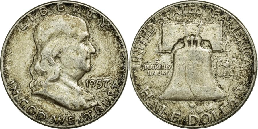 US Coins - Coin, United States, Franklin Half Dollar, Half Dollar, 1957, U.S. Mint