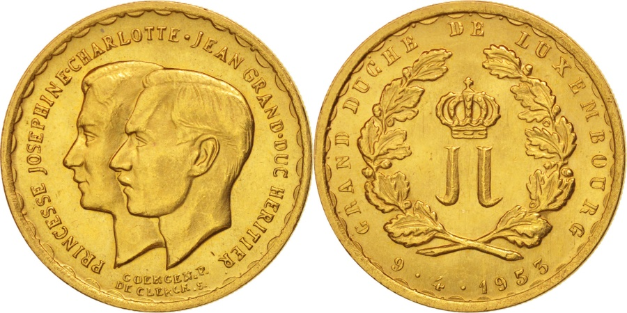 World Coins - Luxembourg, 20 Francs, 1953, Brussels, , Gold, KM:M1
