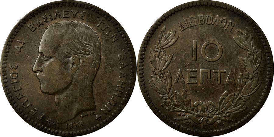 World Coins - Coin, Greece, George I, 10 Lepta, 1878, Bordeaux, EF(40-45), Copper, KM:55