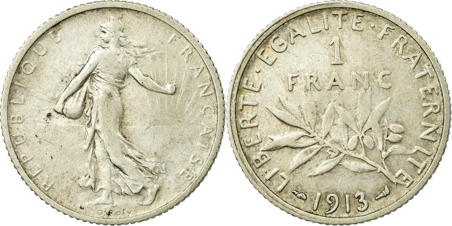 World Coins - Coin, France, Semeuse, Franc, 1913, Paris, , Silver, KM:844.1