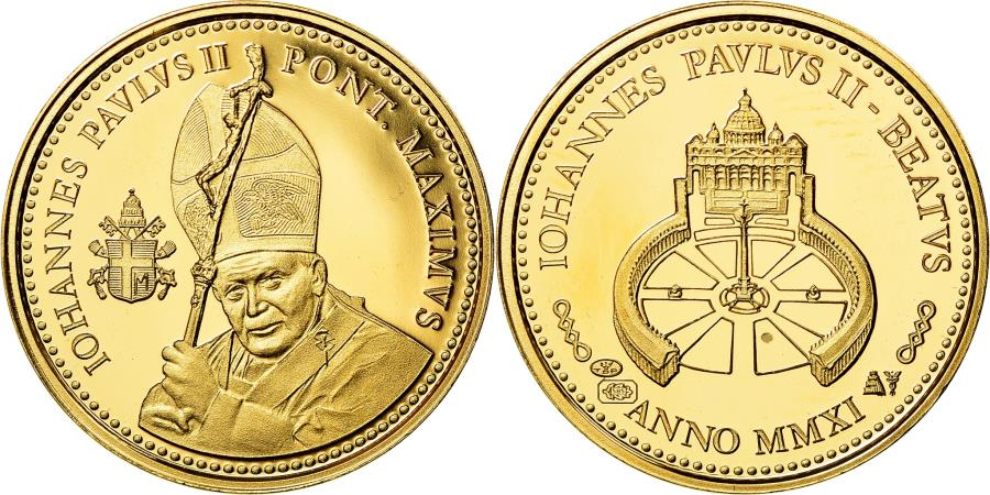 World Coins - Vatican, Medal, La Béatification de jean-Paul II, 2011, , Gold